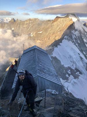 Bei der Carrelhütte hatten Christian und Peter bereits gut 1000 Höhenmeter in den Beinen.