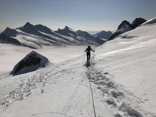 Zustieg vom Jungfraujoch zum südlichen Eigerjoch, im Hintergrund das Ewigschneefeld.