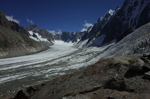 Abstieg, Blick zurück ins Argentière-Becken