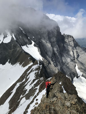 Blick zurück zur Wand auf dem Abstieg über die Eigerjöcher. Das Biwak befindet sich in der winkelförmigen Höhle (vertikal Bildmitte, horizontal 2/3 rechts).