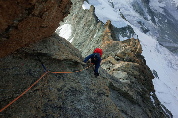 Prächtige Kletterei in bestem, rauhem Granit.