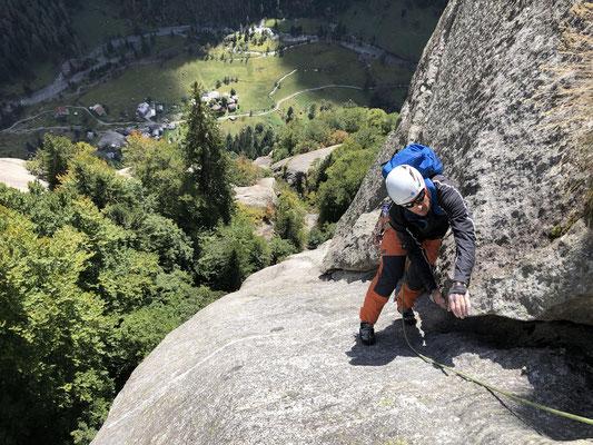 Luna Nascente, prächtige Piaz-Kletterei in der fünften Länge.