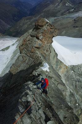 Abstieg Nordgrat, kurz vor dem grossen Gendarm.