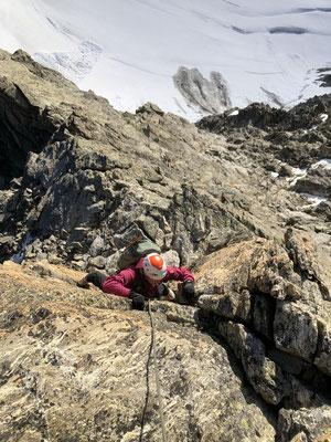 Schöne Kletterei am Klein Schreckhorn NE-Grat.