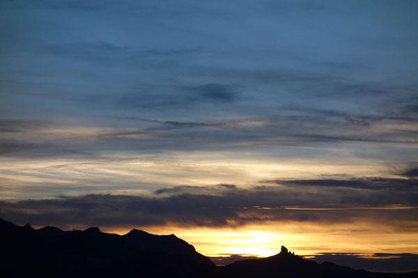 Abendstimmung, im Hintergrund die Lobhörner (Foto: B. Rathmayr)