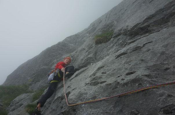 Schöner Fels schon ab dem ersten Klettermeter.