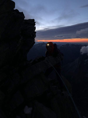 Morgendämmerung, Lenzspitze Ostgrat.