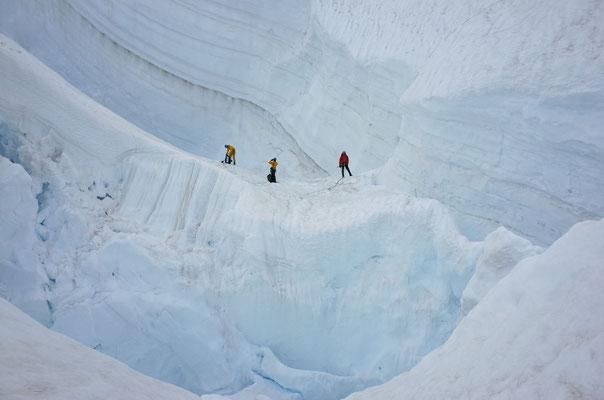 Der zerrissene Gletscher war nicht einfach zu durchqueren