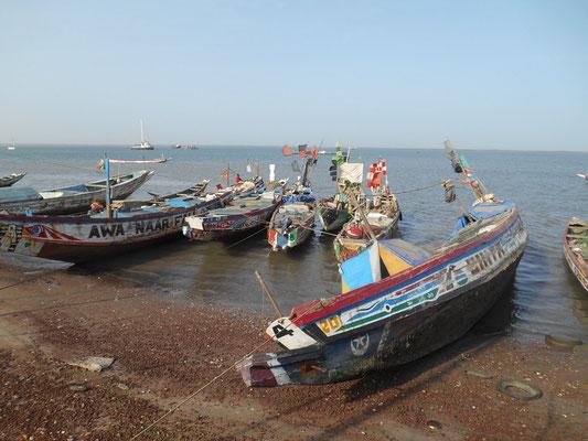 Pirogues de pêche au port de Banjul