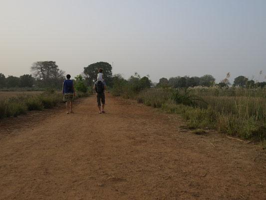 Chemin entre le fleuve et le village