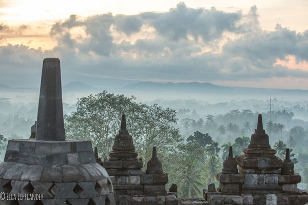 Borobudur Temple and moist morning