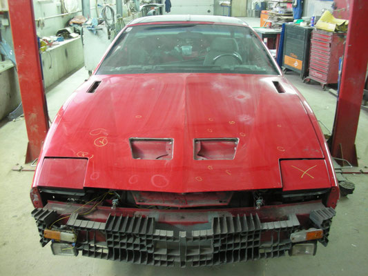 hier sieht man die Lackschäden auf der Motorhaube