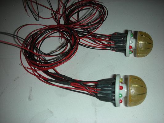 Die fertigen Bussard Collectors Antriebe mit LEDs