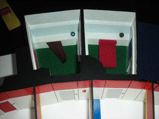 Mannschaftsquartiere. Die Quartiere waren räumlich alle gleich. Als Set aufgebaut wurde aber nur ein Quartier für alle Besatzungsmitglieder. Beim Dreh wurde nur die Innenausstattung geändert.
