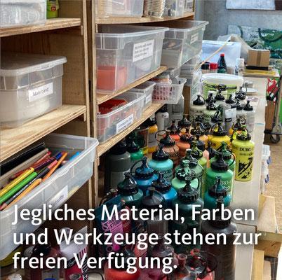 Jegliches Material, Farben und Werkzeuge stehen zur freien Verfügung