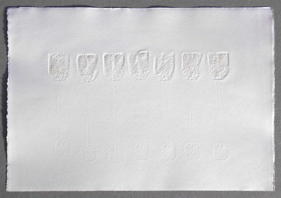 die sieben aufrechten •  Serie mit vier Bildern • Materialdruck auf Büttenpapier • 2016 • je 38 x 55 cm