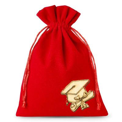 sacchetti-di-tajjetà rosso-9x11-cm con applicazione  laurea in legno € 1,70 senza confetti