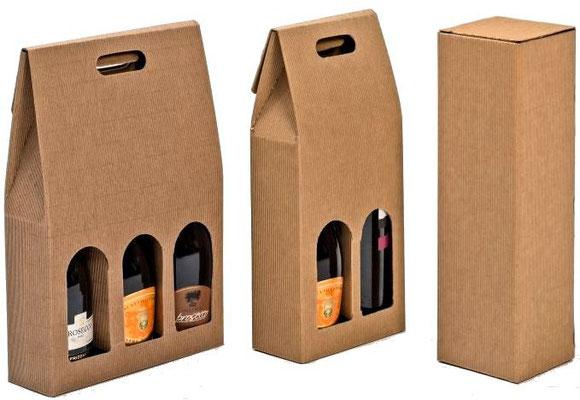 Scatole porta bottiglia da 1 da 2 e da 3 in cartoncino color avana ondulato