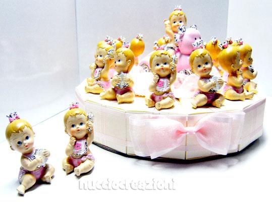 torta bomboniera baby rosa
