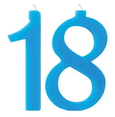 candela 18 anni azzurro H.18 cm con supporto € 14,00