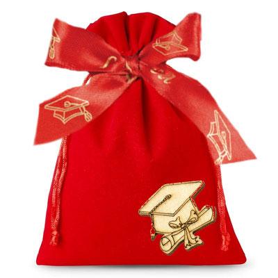 esempio di sacchetto per il fai da te con nastro e applicazione laurea