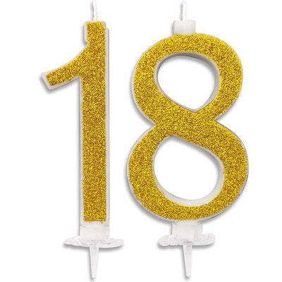 candela 18 anni glitterata oro  H.14 cm   € 10,00