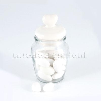 Barattolo in vetro con tappo ermetico in ceramica bianca, capacità 160 ml < cm.6x6 h10 €2,30