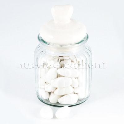 Barattolo in vetro con tappo ermetico in ceramica bianca, capacità 300 ml < cm.7x7 h12 €3,00