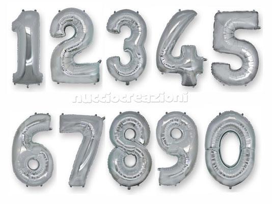 palloncini numeri argento H. 1 Metro