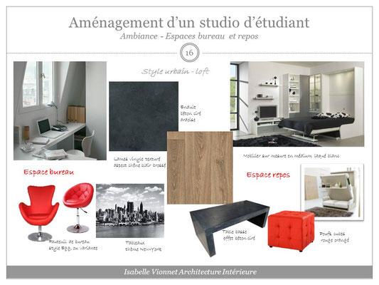 Aménagement d'un studio d'étudiant. Planche matériaux et mobilier. Ambiance chêne clair, ardoise, rouge et blanc.