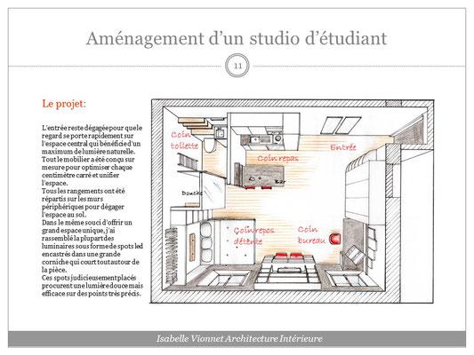 Aménagement d'un studio d'étudiant. Projet 3D colorisé vu de dessus avec dénomination des différents espaces de vie. Coloris Blanc, bois, ardoise et rouge.