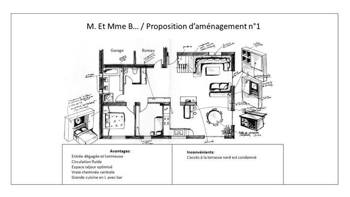 Proposition d'aménagement numéro 1 avec croquis de recherches pour mobilier multifonctions et comparatif avantages et inconvénients.