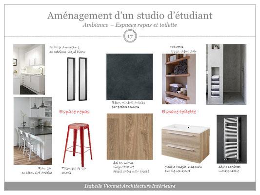 Aménagement d'un studio d'étudiant. Planche matériaux et mobilier pour la cuisine et la salle de douche. Ambiance bois clair, ardoise, rouge et blanc.