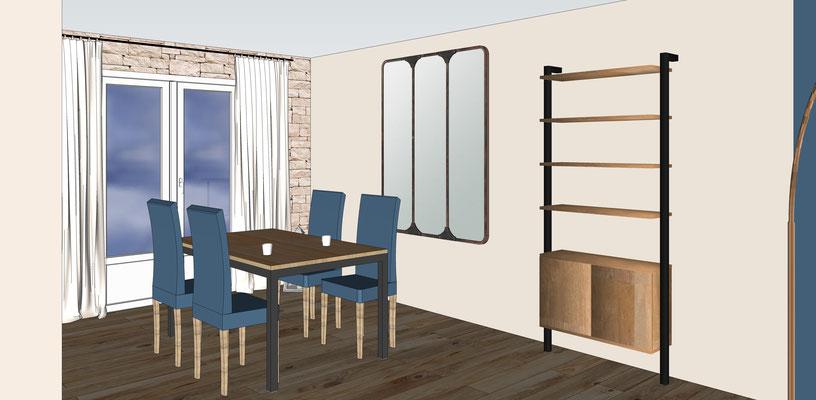 Séjour bleu cosy. Simulation 3D avec suggestion de mobilier. Vue du coin repas.