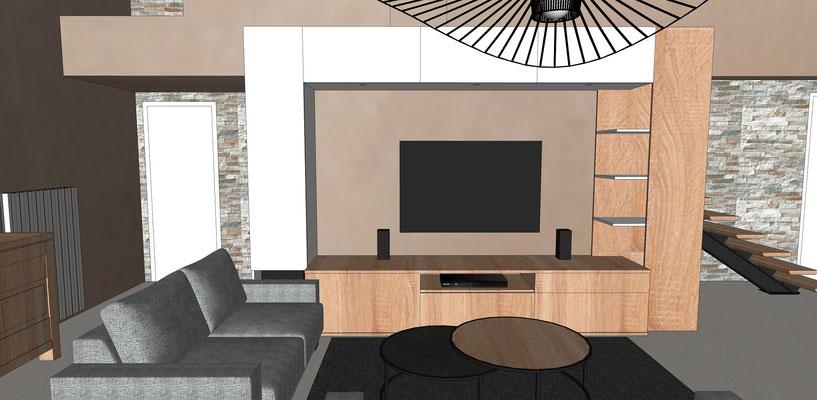 Simulation 3D. Conception d'un grand meuble TV multimédias sur mesure, avec tiroirs en partie basse, niches, étagères et rangements fermés en haut.