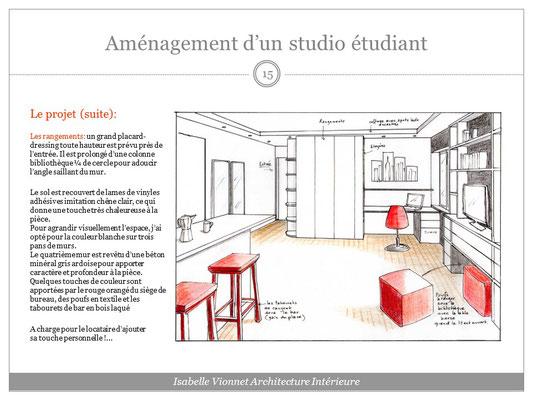 Aménagement d'un studio d'étudiant. Croquis perspectif colorisé avec vue sur le coin bureau et dressing. Fauteuil de bureau et tabourets et poufs rouges.