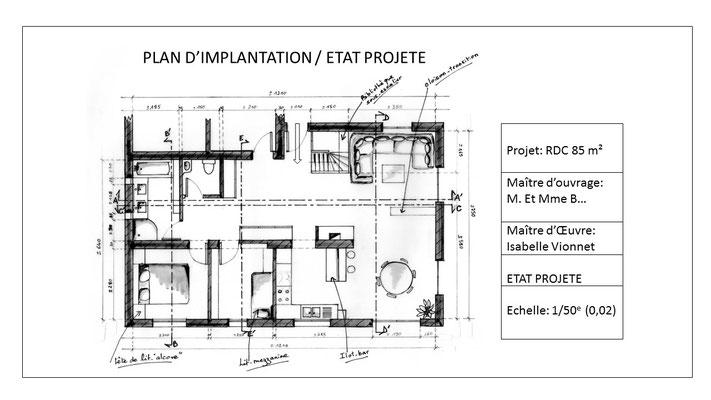 Plan d'implantation finalisé et coté -  état projeté.