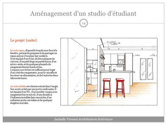 Aménagement d'un studio étudiant. Croquis perspectif colorisé avec vue sur la kitchenette avec bar et tabourets hauts, et l'espace toilette.