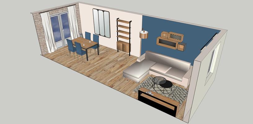 Séjour bleu cosy. Simulation 3D. Vue d'ensemble.