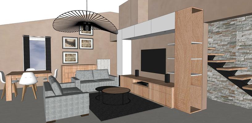 Simulation 3D.  Conception d'un meuble tv multifonction sur mesure en chêne clair et blanc, suspension Vertigo. Escalier rénové et parement pierre naturelle.