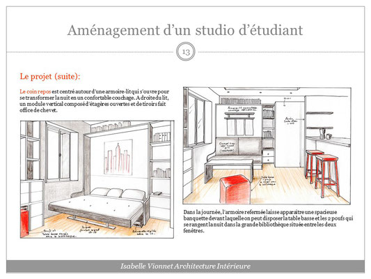 Aménagement d'un studio étudiant. Croquis perspectif colorisé avec vue sur le lit escamotable: version nuit ouvert, et version jour replié avec la banquette.
