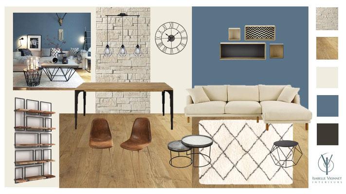 Séjour bleu cosy. Planche d'ambiance avec proposition couleurs, revêtements, mobilier et textiles.