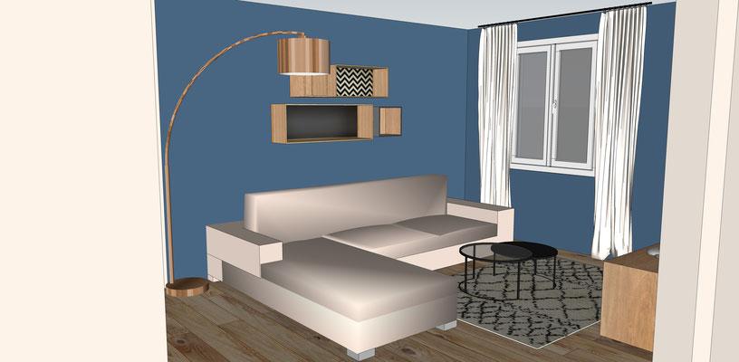 Séjour bleu cosy. Simulation 3D avec suggestion de mobilier. Le coin salon.