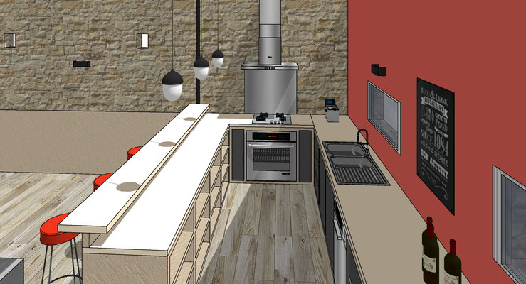 La cuisine d'été sur mesure avec îlot bar.