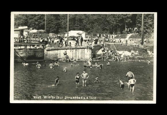 "Fotografie vor 1929,   ""Strandbad"" an der Töss - beim Weg zum Reitplatz"