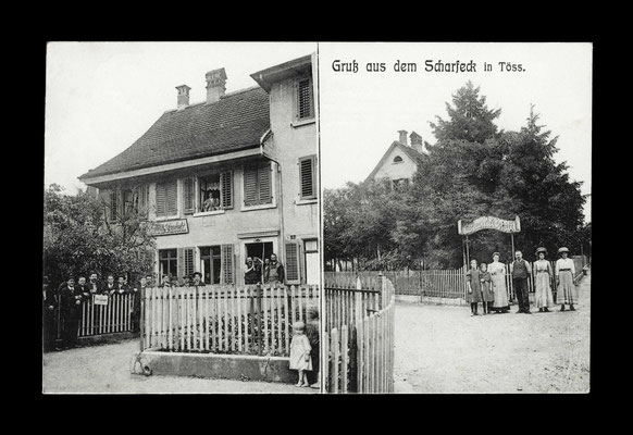 Fotografie vor 1911,     Restaurant Scharfeck - Ecke Freiestrasse/Klosterstrasse (abgebrochen - heute Kletterhalle)