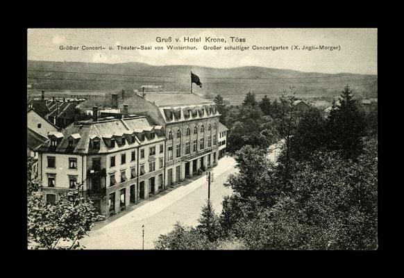 Lichtdruck vor 1910,    Die Krone  -  abgebrochen wegen Autobahnbau (höhe AMAG)