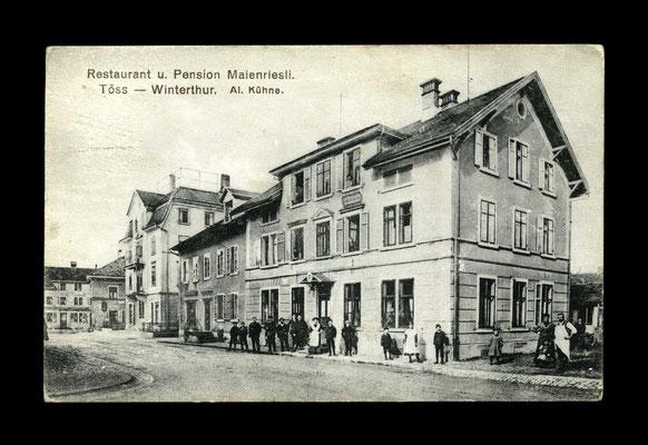 Lichtdruck ca. 1910,     Gemeindestube Töss (heute Cafe Frosch) Bezeichnung ev Fehldruck ?