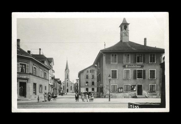 Fotografie vor 1922,     Gemeindehüsli mit Stationsstrasse