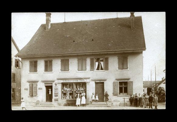 Fotografie vor 1913,    Verkaufslokal des Arbeitervereins Zürcherstrasse (abgebrochen - heute steht dort der COOP Töss)